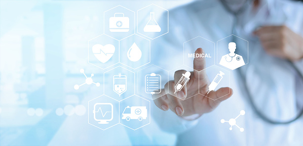 istock Doctor touching white icon medical on virtual screen, medical technology network concept 695349922
