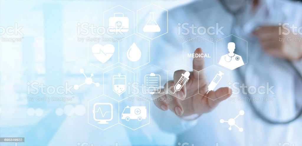 Doctor touching white icon medical on virtual screen, medical technology network concept stock photo