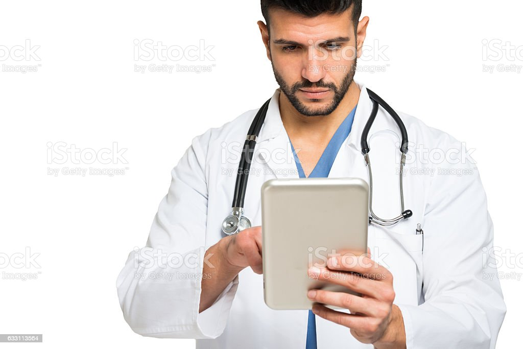 Doctor using a tablet stock photo