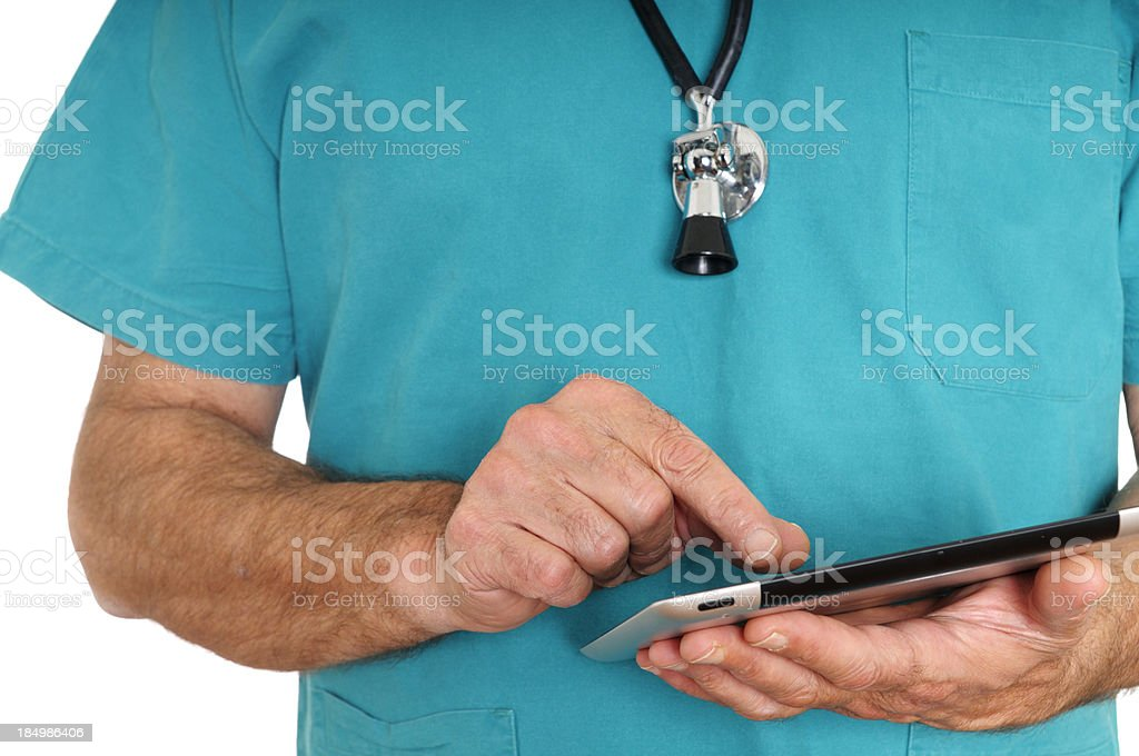 Doctor Using Digital Tablet.Isolated. stock photo