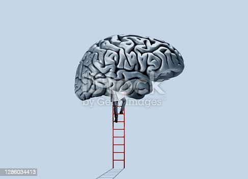 A doctor wearing a white doctor's coat climbs a red ladder as he enters a large human brain that hovers above him.