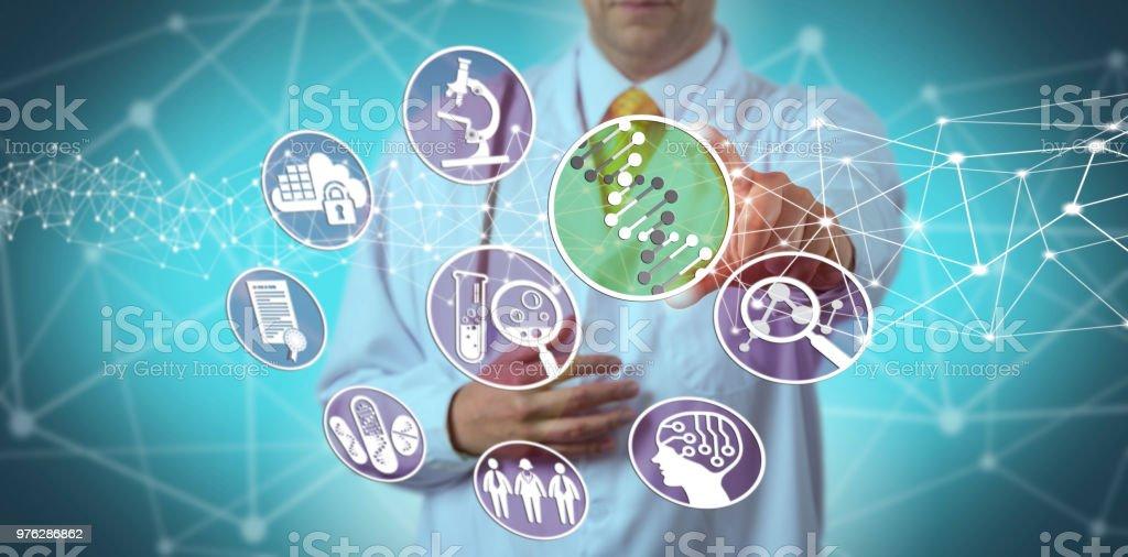 Doctor Using Pharmacogenomics In Drug Discovery stock photo