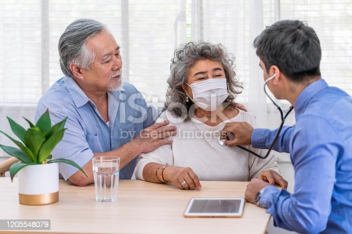 istock Doctor using stethoscope for auscultate Asian grandparent patient in house 1205548079