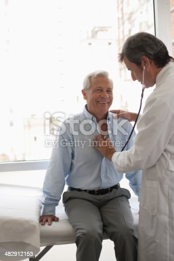 istock Doctor using stethoscope on smiling patient 482912153
