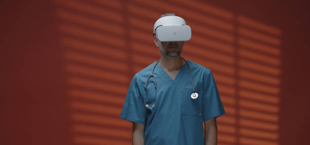 doctor using vr headset - vr red background imagens e fotografias de stock