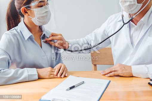 istock Doctor wear face mask and eyeglasses Measuring arterial blood pressure woman patient helping, encourage and empathy at nursing hospital ward After Corona virus epidemic. 1251135584