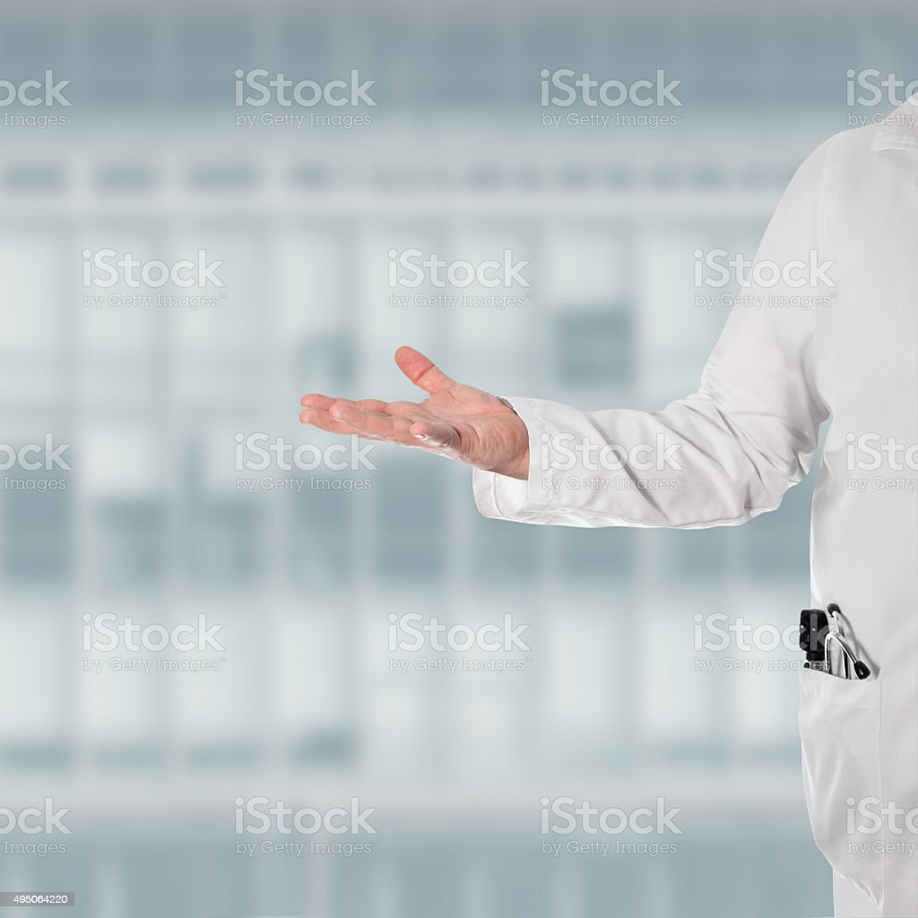 Doctor with a open hand stock photo