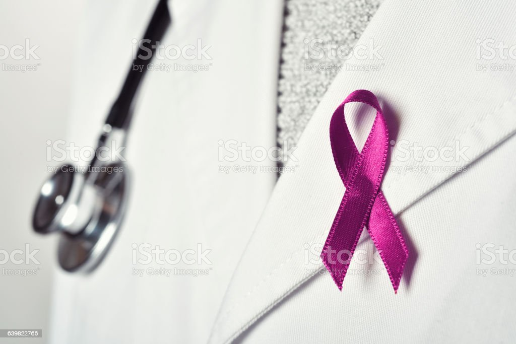 doctor with a pink ribbon stock photo