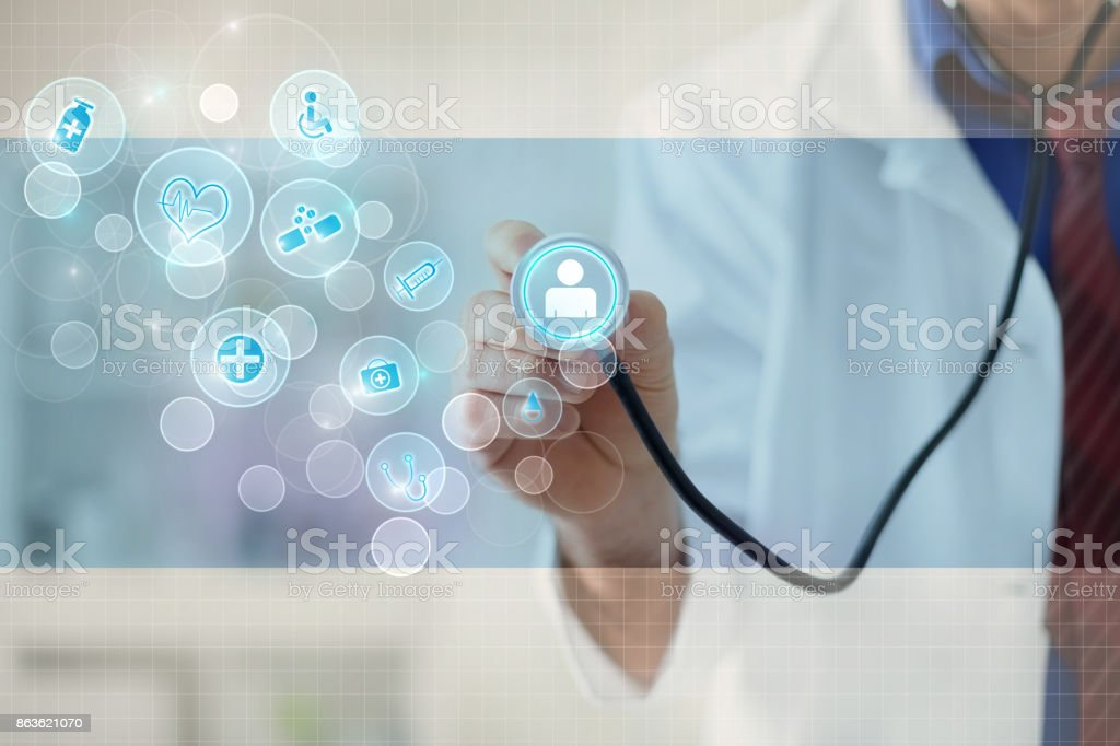 Doctor with a stethoscope in the hands and graphical design stock photo