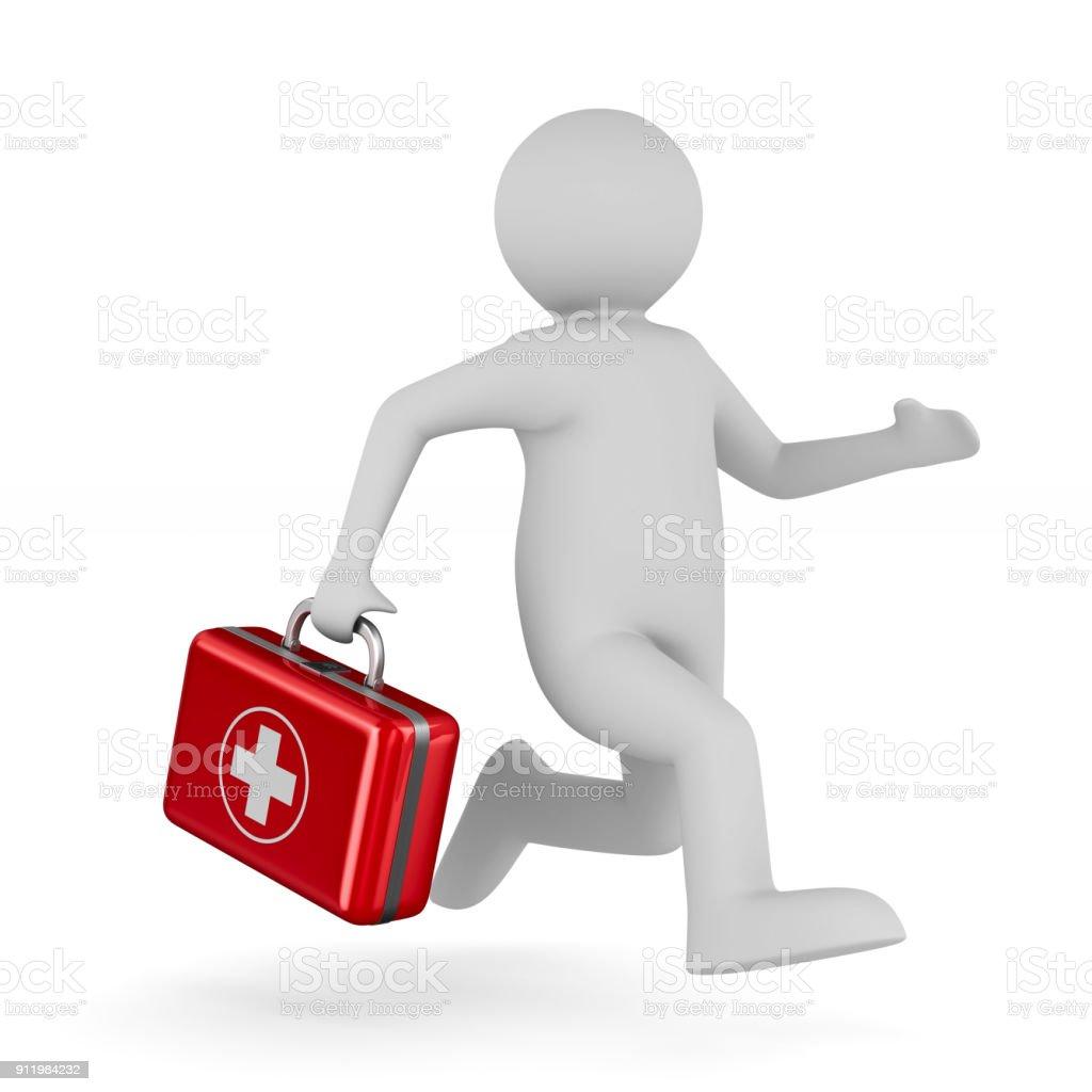 Arzt mit erste-Hilfe-Kit auf weißem Hintergrund. Isolierte 3D-Illustration – Foto