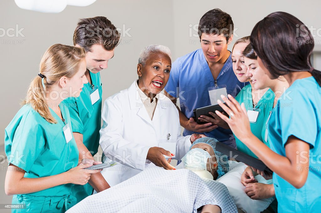 Doctor with group of medical students royalty-free stock photo