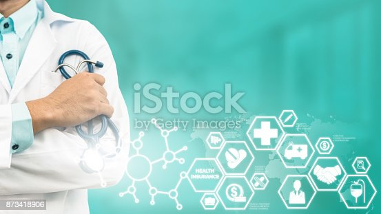 929887844 istock photo Doctor with Health Insurance Modern Interface Icon 873418906