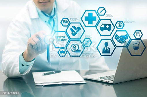 929887844 istock photo Doctor with Health Insurance Modern Interface Icon 881499530