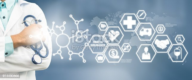 927814202istockphoto Doctor with Health Insurance Modern Interface Icon 914490866