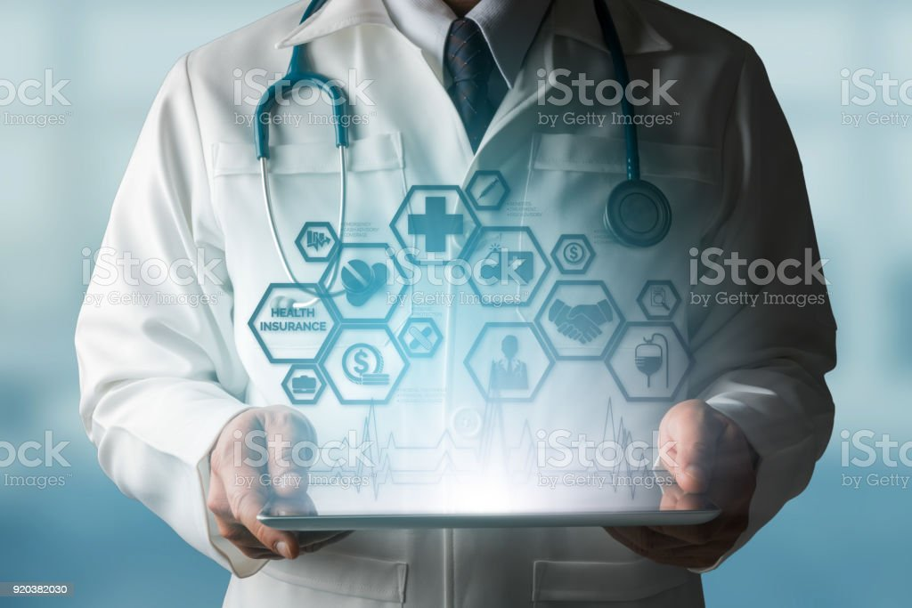 Doctor with Health Insurance Modern Interface Icon stock photo