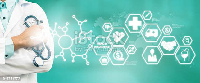 927814202istockphoto Doctor with Health Insurance Modern Interface Icon 943761772