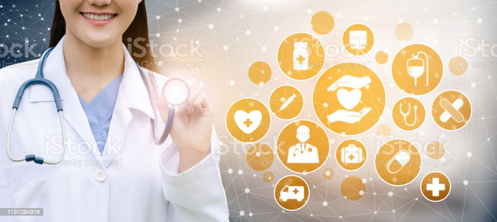 Medical Healthcare Concept - Doctor in hospital with digital medical...