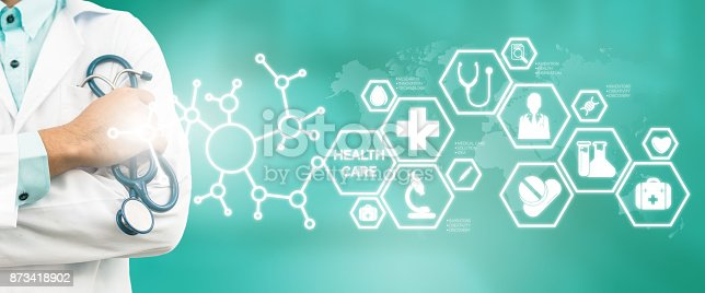 istock Doctor with Medical Healthcare Icon Interface 873418902