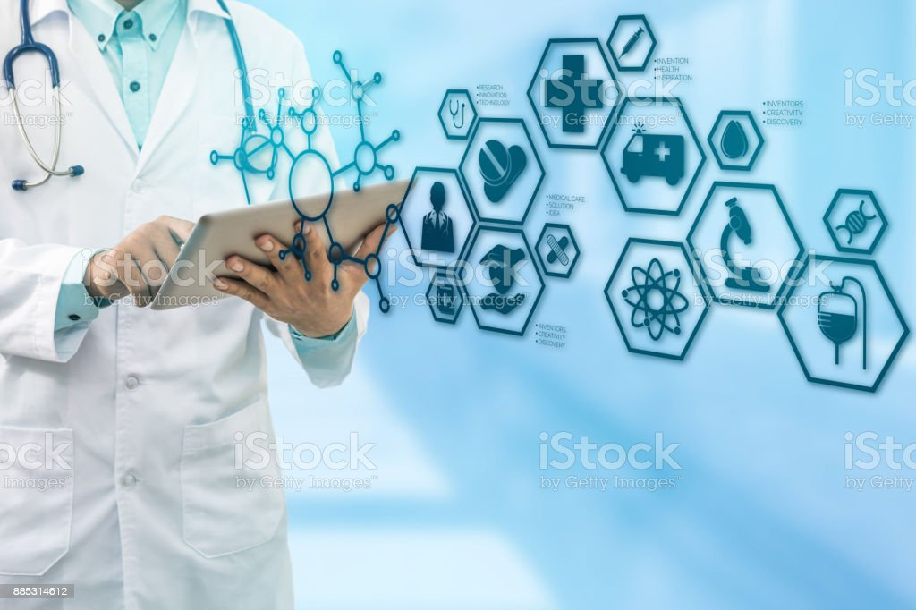 Doctor with Medical Healthcare Icon Interface stock photo