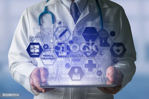 920406470 istock photo Doctor with Medical Healthcare Icon Interface 920382014