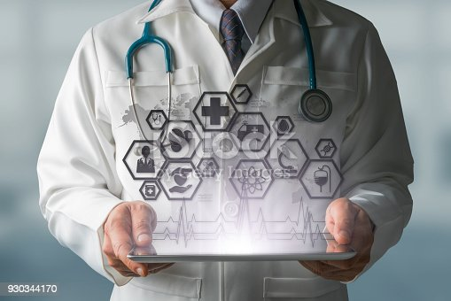 927814202istockphoto Doctor with Medical Healthcare Icon Interface 930344170