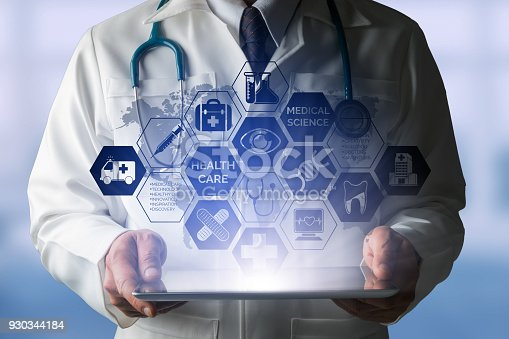 927814202istockphoto Doctor with Medical Healthcare Icon Interface 930344184