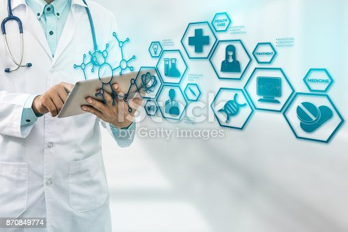 istock Doctor with Medical Science Icon Modern Interface 870849774