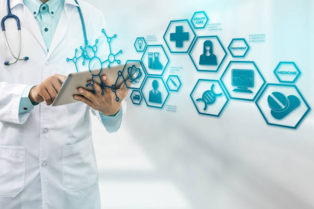 Doctor with Medical Science Icon Modern Interface stock photo