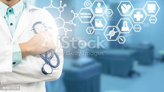 927814202istockphoto Doctor with Medical Science Icon Modern Interface 905072376