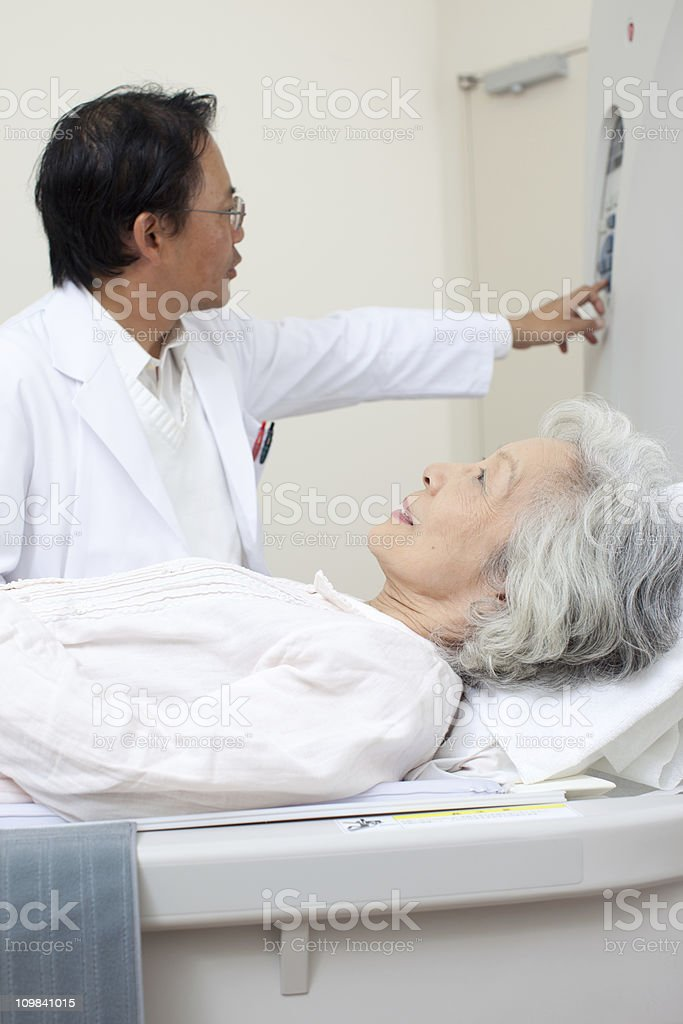 Doctor with patient at the MRI scan royalty-free stock photo