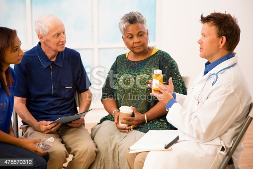 istock Doctor with patients discussing prescription medication abuse. 475570312