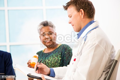 istock Doctor with patients discussing prescription medication abuse. 614745798