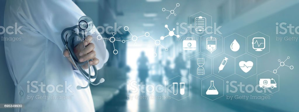 Doctor with stethoscope and white icon medical on hospital background, medical technology network concept stock photo
