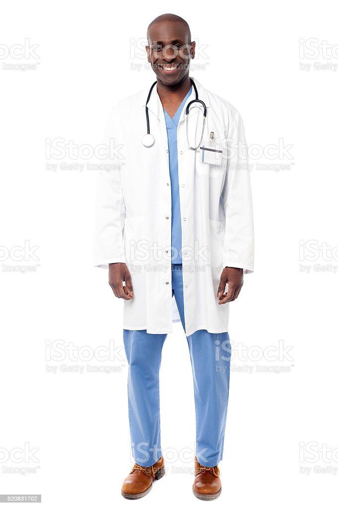 Doctor with stethoscope around neck stock photo
