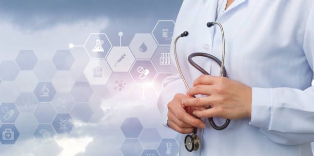 Doctor with stethoscope in hands waiting. - foto stock