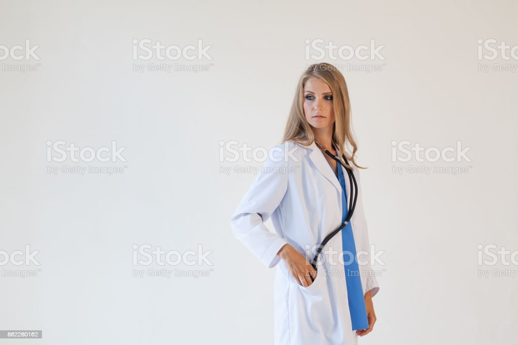 doctor with stethoscope in hospital treatment stock photo