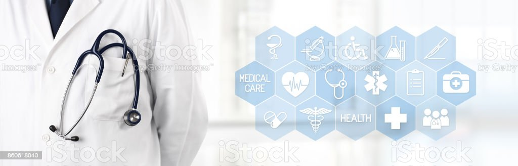 doctor with stethoscope in pocket and medical symbols icons in the background – zdjęcie