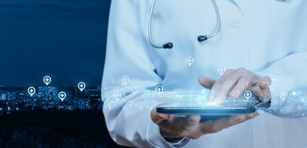 doctor working at the medical network on the tablet . - icon set healthy foto e immagini stock