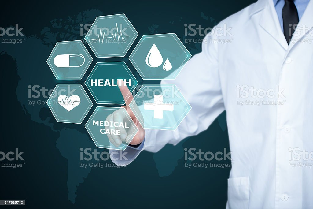 Doctor working on a virtual screen. medical technology concept. pulse stock photo