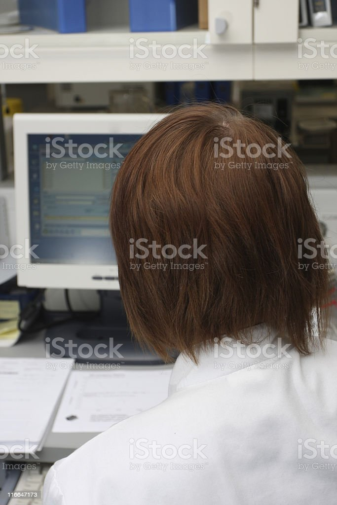 Doctor working on computer royalty-free stock photo