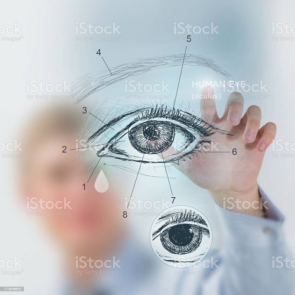Doctor working virtual interface examining human eye stock photo