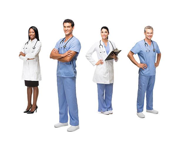 doctors and healthcare workers - tam uzunluk stok fotoğraflar ve resimler