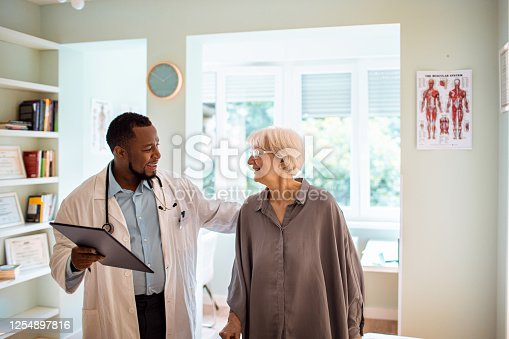 Close up of a senior woman having a doctors appointment
