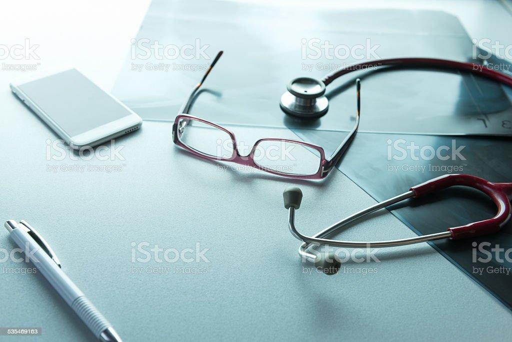 Doctor's desk stock photo