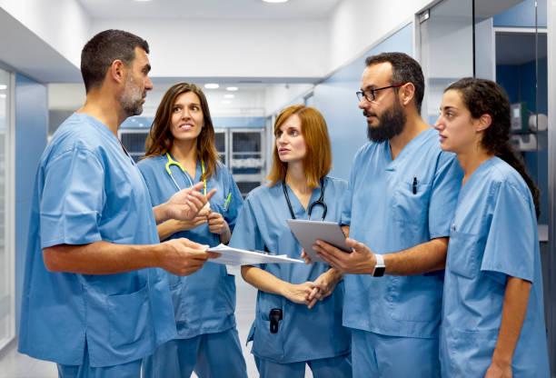 läkare diskutera med laget i korridoren - veterinär, undersökning bildbanksfoton och bilder