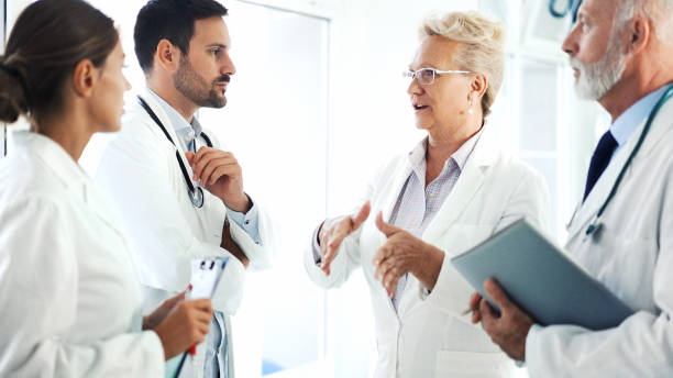 Doctors in a meeting. stock photo