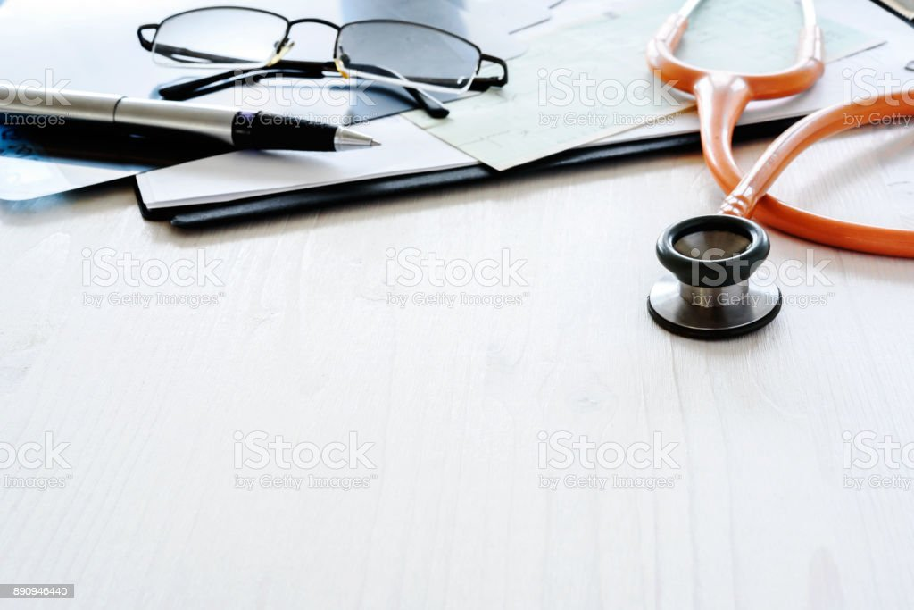 Doctor's office desk with copy space stock photo