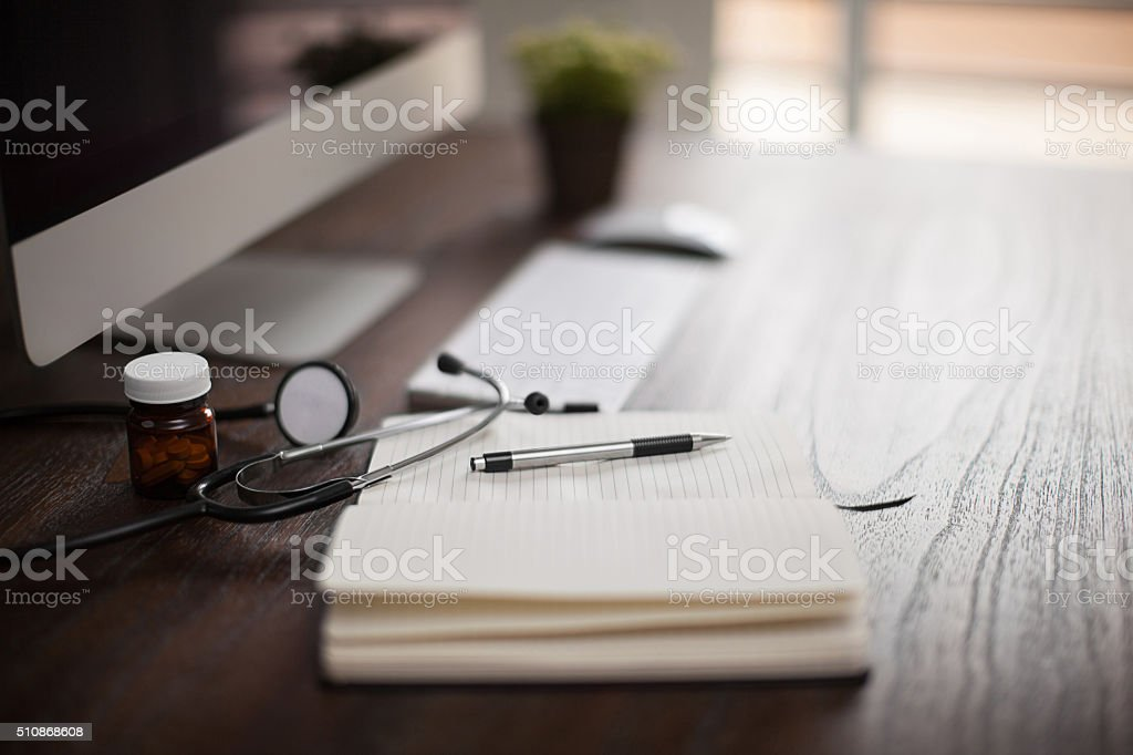 Doctor's office on a bright morning stock photo