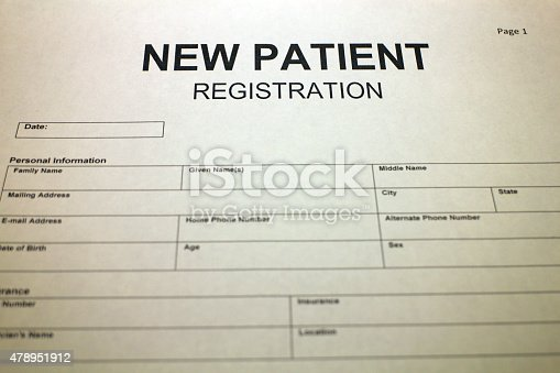 Doctors Office Patient Registration Form Stock Photo  More Pictures