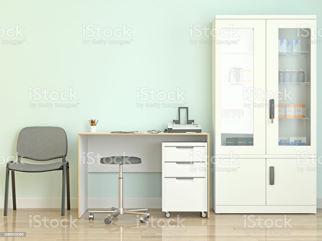 Doctor's Office with Medical Equipment and Cabinets stock photo